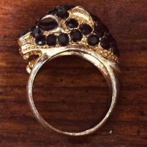 Black leopard or panther ring with onyx eyes